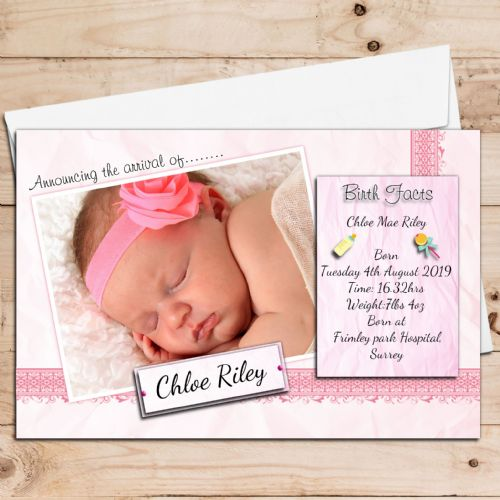 10 Personalised Baby Girl Birth Announcement Thank You PHOTO cards N108